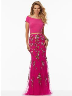 Sheath Fuchsia Black Off The Shoulder Short Sleeves Embroidery Open Back Tulle Two-piece Floor Length Evening / Prom Dresses 99155