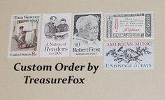 Reserved Custom Order for Rachel .. Unused Vintage US Postage Stamps by TreasureFox on Etsy