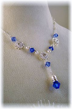 New Swarovski Sapphire Crystal/Pearl Pendant by HisJewelsCreations