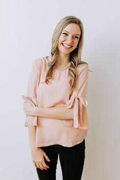 Hello Darling Tie Sleeve Top in Blush – Ivy + June. Clothes for work. Formal Tops, Casual Tops, Casual Outfits, Fashion Outfits, Women Lifestyle, Affordable Clothes, Pink Tops, Spring Outfits, Ivy