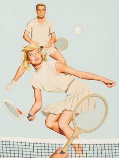American Art – Playing Doubles: Vintage Illustration Original Art