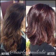 Before and after. Gorgeous. Hair by Jami Leslie. Tiger Tail Salon- Carlsbad CA