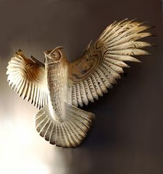 Owl Woodcarving By Jason Tennant, Silent Flight, Owl Woodcarving