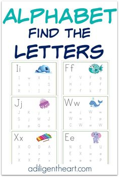 These Alphabet Find the Letters Pages are a great resource for your early learner. Perfect for your Preschooler or Kindergartner. Check out these Alphabet Find the Letters FREE Printables! http://adiligentheart.com