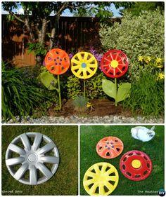 DIY Hubcap Flower -20 Colorful  #Garden #Art #DIY #Decorating Ideas Instructions