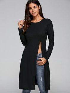 Round Neck Long Sleeve High Slit Fitting T-Shirt Trendy Fashion, Boho Fashion, Fashion Outfits, Round Collar Shirt, Estilo Rock, Tees For Women, Collar Styles, Bollywood Fashion, Pretty Dresses