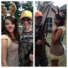 Couple Costume. Deer and hunter