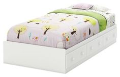 South Shore Savannah Collection Twin Mates Bed - Pure White