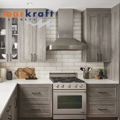 """You have dreams and Markraft Cabinets makes them fun, easy and affordable to attain. Stop by one of our Design Studios or give us a call – and let's build """"wow"""" together. Grey Kitchens, Design Studios, Custom Cabinets, Cabinet Design, Rustic Kitchen, Kitchen And Bath, Home Remodeling, Countertops, Kitchen Remodel"""