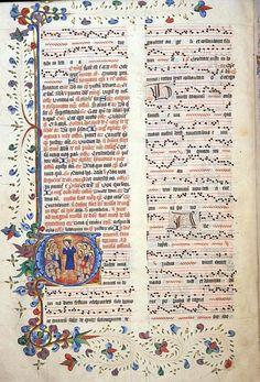 Introit for All Saints 'Gaudeamus omnes in Domino'in a 15th c. English manuscript. (bl. Lansdowne 462, f. 148)