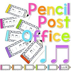 Pencil Post Office Rhythm Games: This rhythm post office set is perfect for practicing rhythm reading during back to school (or any time of year)! This file includes cards to practice ta and titi rhythm reading. Perfect for the elementary music classroom.