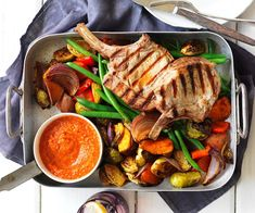 This delicious Spanish inspired dish combines tender grilled pork cutlets and slow-roasted vegetables to create a delicious meal the whole family will love. Pork Cutlet Recipes, Cutlets Recipes, Pork Recipes, Weekly Recipes, Quick Recipes, Apple Pork Chops, Pork Loin Chops, Pork Cutlets