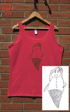 OMG this little girl perfectly fits in ice cream con:) Used juicy red color tank top with green ink. If your kid has some great story to draw Memorial Gifts, People Art, Little People, Beautiful Children, Red Color, Art For Kids, Screen Printing, Unique Gifts, Ice Cream