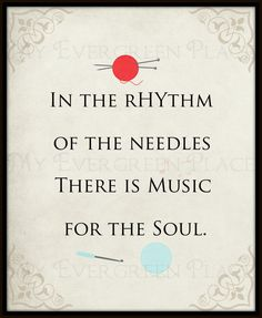 "Craft Room Wall Word Art Printable Digital Download ""In The Rhythm Of The Needles"" knitting quote"