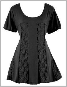 Black Lace TRAPEZE Babydoll Tunic Top