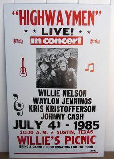 Vintage HIGHWAYMEN Concert Poster, 1985 Tour Austin Texas CASH Willie Nelson