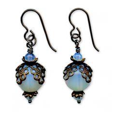earrings, beads, blue, jewelry