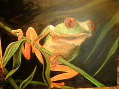 Frog painting by LynsPictures on Etsy, $165.00