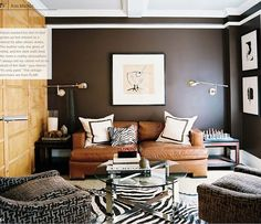 dark walls, leather sofa, wood accent wall=classic mans room. #homeforachange