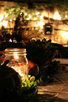 String lights and mason jar votives create a lovely warm glow at this outdoor fall harvest party. Pick up some great fall decorating ideas from designer Kristin Cadwallader of Bliss at Home... on The Home Depot Blog. || @gwhkristy