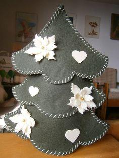 Ciao ragazze,anche se il Natale è ormai passato vorrei farvi vedere un albero in feltro che ho realizzato prima delle feste... Ho trovato il cartamodello su una rivista e mi sono divertita a realizza
