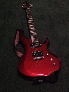 This my guitar I uploaded this I like this guitar a lot it looks very cool with the jagged edges and the cool color it has it is the esp f-50 bch
