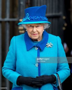 Queen Elizabeth II visits Canterbury Cathedral where she unveiled a statue of herself and one of Prince Philip, Duke of Edinburgh on March 26, 2015 in Canterbury, England.  (Photo by Mark Cuthbert/UK Press via Getty Images)