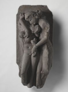 Lovers (Mithuna), 1000s  India, Madhya Pradesh, Khajuraho, Medieval period, Candella dynasty, 11th century,  sandstone.