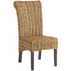 A chair like this could make your day. Natural banana bark is ruggedly hand-woven over solid mahogany wood, then civilized with a lacquered finish for smoothness and comfort. Sit back and laze away the hours. Kitchen Chairs, Dining Room Chairs, Dining Room Furniture, Home Furniture, Kitchen Nook, Dining Area, Brown Furniture, Parsons Chairs, Dining Room Design
