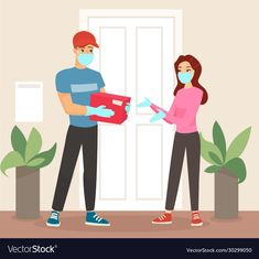Vector illustration of delivery man in mask and medical gloves giving the package to woman in medickal mask. Woman getting package from courier. Coronavirus concept, quarantine and isolation. Logo Online Shop, Hand Washing Poster, Lovely Girl Image, Delivery App, Illustration Girl, Cartoon Styles, Sewing Patterns Free, Pharmacy, Cute Wallpapers