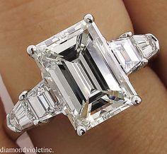 GIA 4.11ct Estate Vintage Emerald Diamond 3 Stone Engagement Wedding Platinum Ring