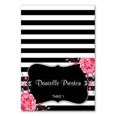 32 Best Floral Black And White Striped Wedding Invitations Images On