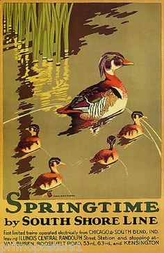 SPRINGTIME-DUCK-FAMILY-LAKE-SOUTH-SHORE-ILLINOIS-TRAVEL-VINTAGE-POSTER-REPRO