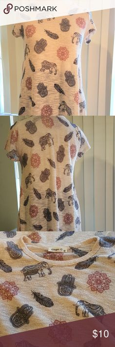 Ginger G size medium elephant print blouse Ginger G size medium elephant print blouse ginger G Tops Blouses