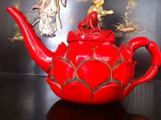 Vintage Chinese Red Frog on Lotus Teapot.