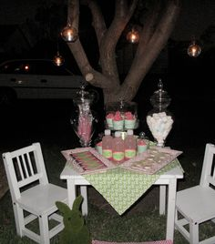 Garden party - pink and green.  Featuring hanging glass lights, personalised chocolates and lollipops.