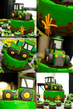 John Deere Birthday Cake idea- The tractor on this is cute but still simple to create. Got a couple of fellows that would love this for their birthday. https://www.facebook.com/groups/HealthyWeightTips/