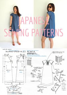 Smock dress with French sleeves. A Japanese sewing pattern translated into English!