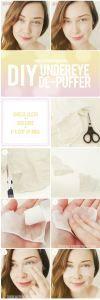 DIY Under Eye Depuffer: cheesecloth and milk