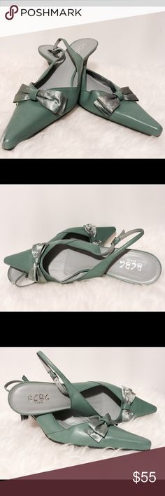 "☀️ BCBG Mint Bow Front Leather Sling Back (NWOB) Green with envy! Brand new. Leather sling back with satin bow accented sling back with wooden heel & adjustable straps. 100% leather upper Man made soles 2 1/2"" heel BCBG Shoes Sandals"