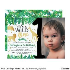 Shop Wild One Boys Photo First Birthday Invitations created by Invitation_Republic. Personalize it with photos & text or purchase as is! Wild One Birthday Party, 1st Birthday Photos, Boy First Birthday, First Birthday Parties, First Birthdays, Birthday Ideas, Birthday Gifts, 16th Birthday, Birthday Fun