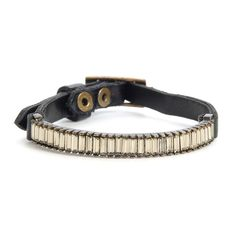 """""""Skinny"""" bracelet with baguettes, wide leather strap with metal center bar buckle, leather keeper, antique brass finish Thing 1, I Love Jewelry, Black Diamond, Antique Brass, Belt, Metal, Bracelets, Design, Leather"""