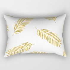 "Our Rectangular Pillow is the ultimate decorative accent to any room. Made from 100% spun polyester poplin fabric, these ""lumbar"" pillows feature a double-sided print and are finished with a concealed zipper for an ideal contemporary look. Includes faux down insert. Available in small, medium, large and x-large. by Xiari on @society6 . With this Golden Leaf pattern on your favorite product, your space will look fantastic! gold, leaf, stencil, leaves, golden, nature, fashion, trend, pillow…"