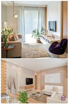 Como usar plantas na decoração da casa Condo Living, Small Living Rooms, Home Living Room, Living Room Decor, Tiny Living, Living Area, Interior Design Living Room, Living Room Designs, Piece A Vivre