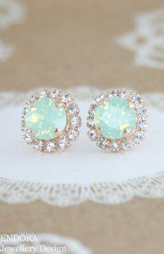 opal oorbellen mint kristallen Stud Earrings stud earrings, mint bruidsmeisje oorbellen, Swarovski mint, roze gouden munt oorbellen, rose goud, mint huwelijksjuwelen Mint