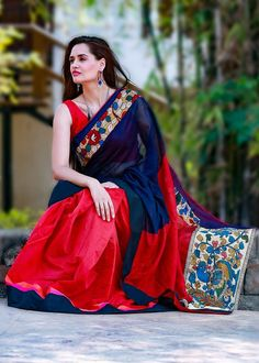 NAVY BLUE HALF SILK COTTON WITH RED CHANDERI & KALAMKARI WORK