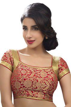 Blood red & gold festive wear banarasi semi brocade enticing blouse with pot neck -BL701   blouse designs patterns   #redblouse #goldblouse