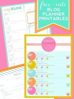 Free & Cute Printable Blog Planners