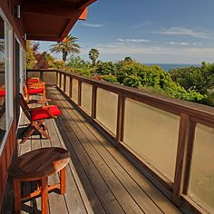 Ocean views and contemporary style are highlights of this Summerland vacation rental. Great local restaurants, beach shops and antique stores are just down the hill, and Montecito and Santa Barbara minutes away.