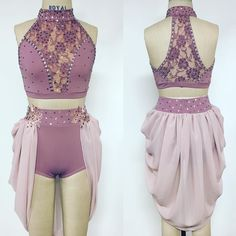 Purple/Lilac two-Piece Lyrical Contemporary dance costume. Cute Dance Costumes, Dance Costumes Lyrical, Ballet Costumes, Dance Leotards, Competition Dance Costumes, Lyrical Dance, Jazz Costumes, Jazz Dance, Carnival Costumes